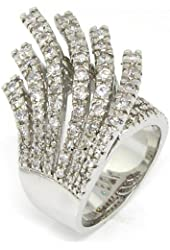Glittering Spray Large Cocktail Ring Pav?w/White CZs, .925 Sterling Silver