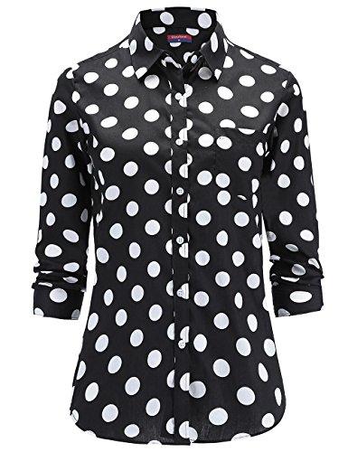 Dioufond Femme Point Chemise Haut Manches en Femme Blouse Longues Casual Blouse Pois Noir Tops Top Coton Gros Shirt r8Aqr