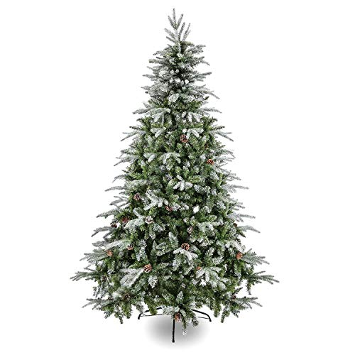 Artificial Christmas Tree. Fake Xmas Green & White Pine Tree 7.5 ft Looks Real, Natural. Great for Indoor, Outdoor, Home, Yard, Patio, Backyard, Gazebo, Front Porch, Deck Holiday Season Party Decor