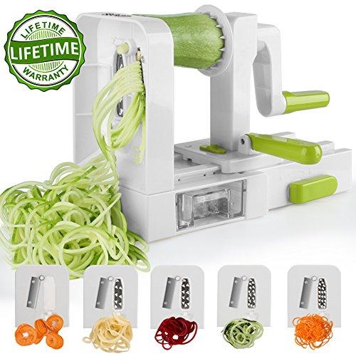 Spiralizer 5-Blade Vegetable Spiralizer,Sedhoom Foldable Spiral Slicer,Zucchini Noodle & Veggie Pasta & Spaghetti Maker for Low Carb/Paleo/Gluten-Free (Spiral Maker)