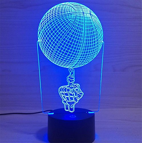 HAPPYMOOD 3D Basketball Illusion Lamp Gift for Sports Lovers Boys Guys Desk Lamp Christmas Decoration 7 Colors Gradient