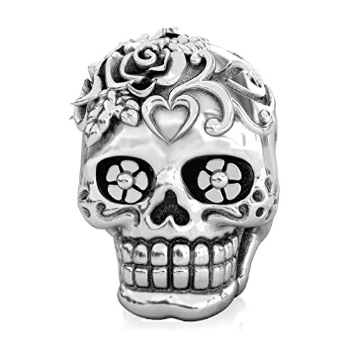BELLA FASCINI Loving HEART Dia de los Muertos Skull Bead Fits All Compatible European Charm Bracelets