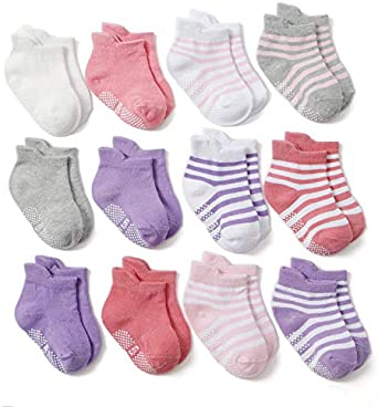 Fsqjgq 6 //12Pcs Baby Socks Unisex Kids Cotton Low Cut Sock Anti Slip Grip Ankle Socks Children Cotton Socks