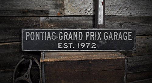 Wooden 1972 72 PONTIAC GRAND PRIX GARAGE Established Date - Rustic Sign - 7.25 x 36 Inches