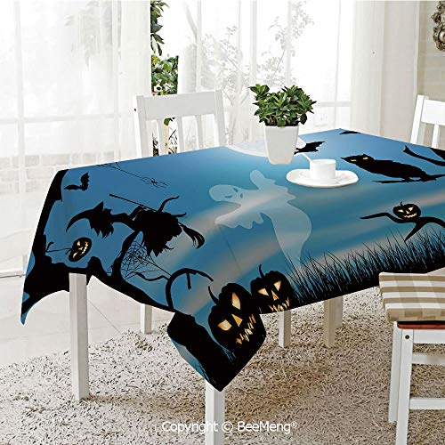 (Large Family Picnic Tablecloth,Easy to Carry Outdoors,Halloween,Ghost Witch Owl Spider Web Bats Trees Fantastic Grange Forest at Night Decorative,Blue Black White,59 x 104)