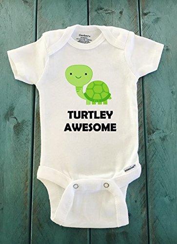 [Turtley Awesome turtle ONESIE ® brand Gerber Onesie Bodysuit - Funny Onesie - Shower gift - baby clothes - newborn] (Turtles Suit)