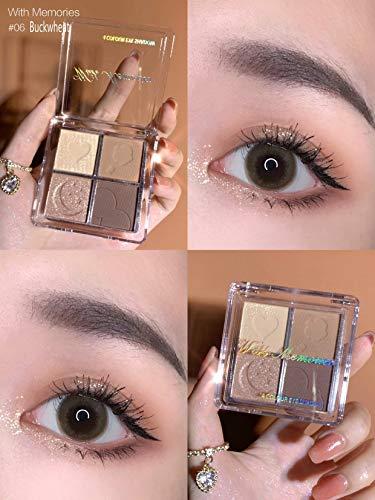 With Memories-4 Color Eye Shadow Palette Holographic Shiny Matte Pigment Eyeshadow Waterproof Metallic Women Eye Makeup Cosmetics (06 Buckwheat)