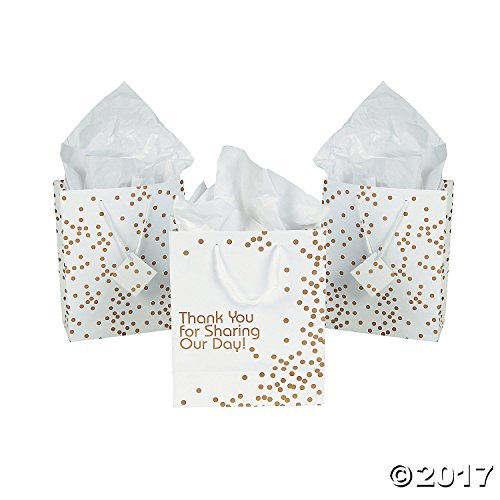 Medium - Gold Wedding Dot Gift Bags - 1 Dozen