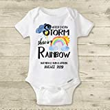 Rainbow Baby Onesie® IVF Miracle Baby Personalized Custom Pregnancy Announcement Reveal IVF Warrior After Every Storm There is a Rainbow