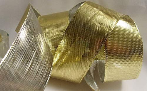 Wire Edged Two Tone Gold and Silver Metallic Ribbon - 100% Polyester 10 Yards, 1-1/2