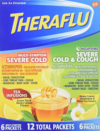 Medicine Hot Cold / Pack - Theraflu MultiSymptom Severe Cold Relief Medicine/Nighttime Severe Cold & Cough Relief Medicine Powder, 12 Packets