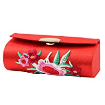 uxcell Metal Button Floral Chinese Embroidery True Red Lipstick Case + Mirror