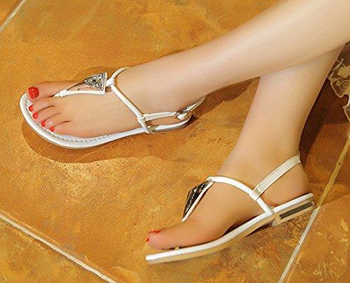 Aisun Donna Comfort Semplice Split Strap Cinturino Alla Caviglia Fibbia Infradito Sandali Infradito Bianco
