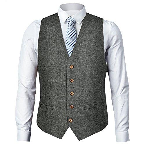 Zicac Men's Unique Advanced Custom Tweed Vest Skinny Wedding Dress Vest (XXXL,Herringbone (Xxxl Suits)