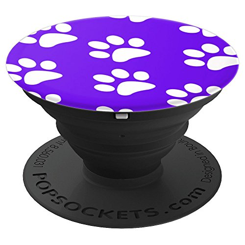 Purple and White Paw Print Pattern for Dog & Cat Lovers - PopSockets Grip and Stand for Phones and Tablets
