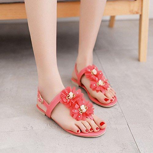 Ete Rouge Femmes Plates TAOFFEN Toe Chaussures Slingback Sandales Mode Clip Floral AwqRC8