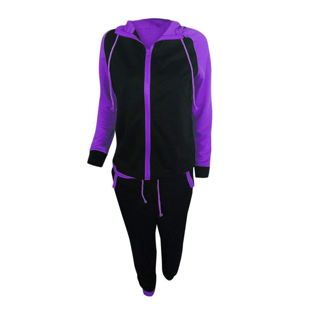 Women Casual Splice Tracksuit Sweatshirt Zipper Hoodies Long Sleeves Pullover Sport Tops+Long Sweatshirts for Pants Set by iLUGU (Image #2)