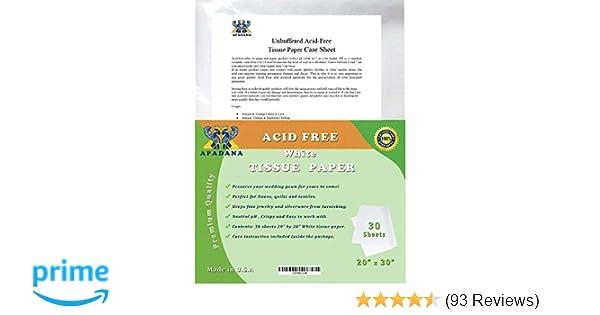 Apadana Acid Free Unbuffered White Tissue Paper 30 Sheets 20 X 30 Inches