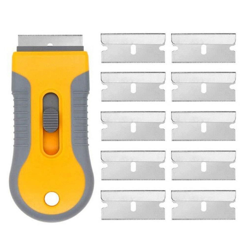 Verre C/éramique Plateaux De Nettoyage De Grattoir De Nettoyage Outils avec 10 Pi/èces Lames M/étalliques Pour Enlever Vinyle Stickers Autocollants Colle