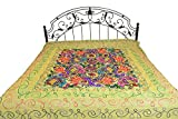 Exotic India Bedspread from Gujarat with Embroidered Animals - Pure Cotton - Color Fern Green Color