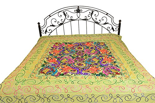Exotic India Bedspread from Gujarat with Embroidered Animals - Pure Cotton - Color Fern Green Color by Exotic India