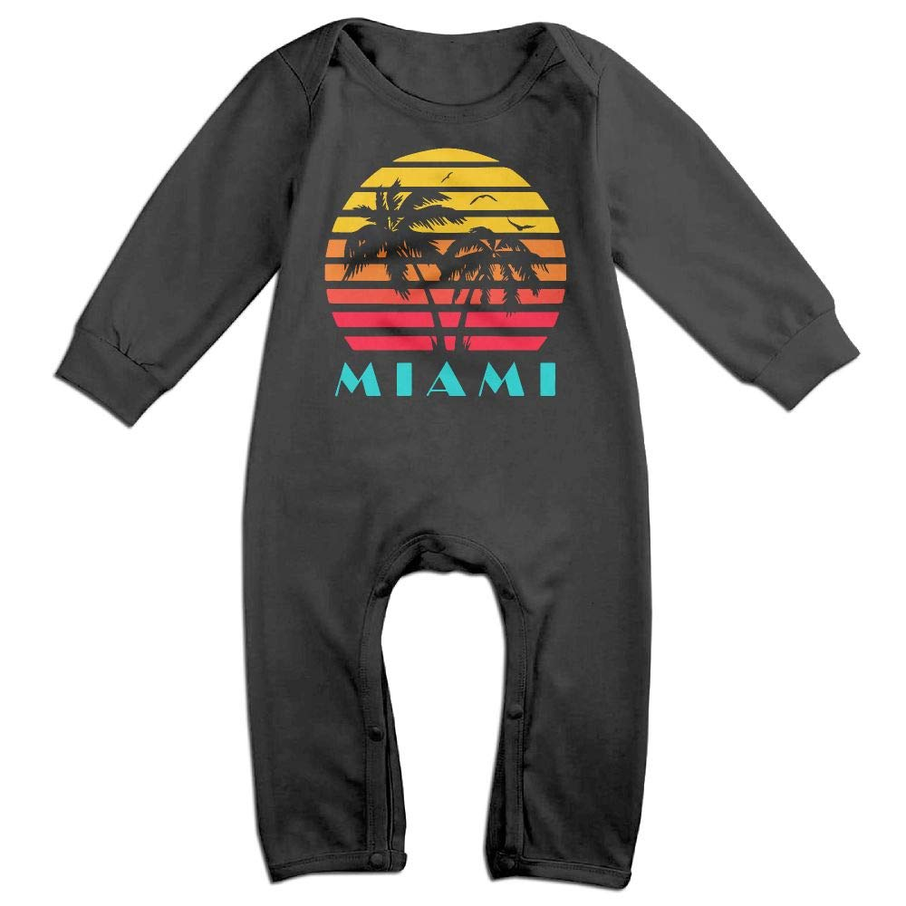 UGFGF-S3 Miami Sunset Long Sleeve Infant Baby Unisex Baby Romper Jumpsuit Onsies for 6-24 Months Bodysuit