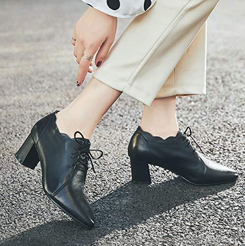 Talon À En Talons Dames Haut Pour Liuyl Femmes Black Chaussures Souliers Cuir Hauts SA5x68qw