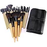 Ybest 32本メイクブラシ動物繊維ウールポータブルメーク用具 メイクブラシセット 写真館化粧師美粧ブラシ化粧袋も付き