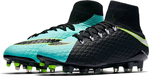 NIKE WOMEN'S HYPERVENOM PHATAL 3 DF FG - (Light Aqua/Black/Volt/White) (10 D(M) US) by Nike