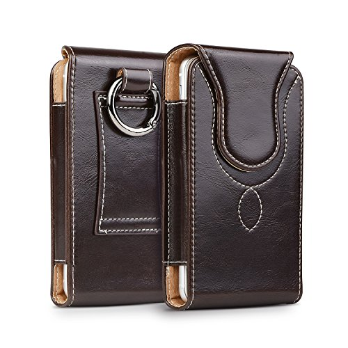 kiwitatá Vertical Premium Leather Case Belt Holster Cell Phone Carrying Holder Case for iPhone 8 iPhone 6 6S 7 (Fits iPhone 7 with a Thin TPU Cover On)