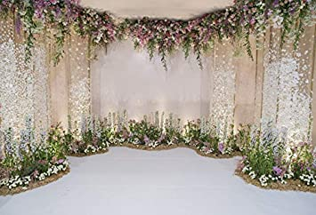 5x5FT Vinyl Wall Photography Backdrop,Flower,Floral Patterns Country Background for Baby Birthday Party Wedding Graduation Home Decoration