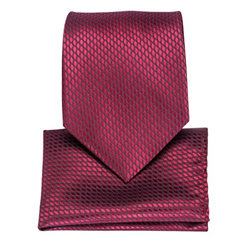 DiBanGu Silk Tie Burgundy Men's Tie Pocket Square Set Woven Business Tie