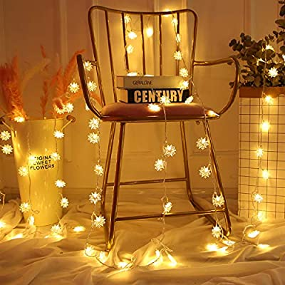 BIMOUR Christmas Star String Lights Decor Warm Yellow 20 ft, 40 LED Light Battery Operated Twinkle Star Lights for Bedroom Dorm Window Curtain Wall Christmas Tree Indoor Outdoor Decorations : Garden & Outdoor