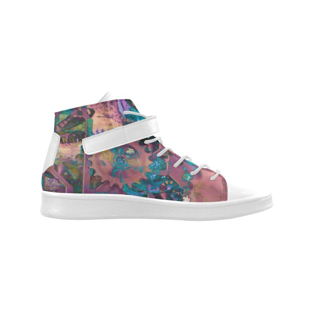 High Top Shoes D-Story Round Toe Steampunk Abstract Womens Sneakers