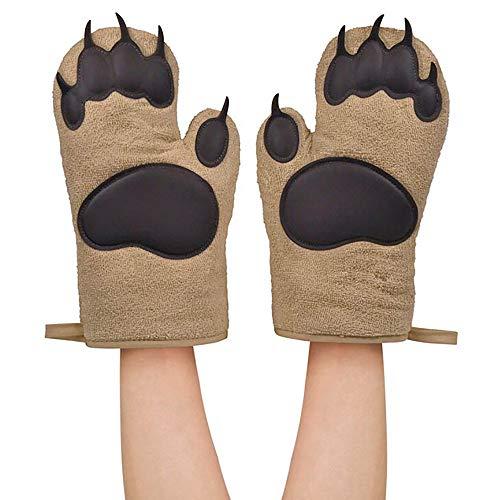 YJYdada 2Pcs Kitchen Cooking BBQ Thicken Bear Paws Oven Gloves ()