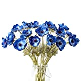 5Pcs Artifical Real Touch PU Anemone Flower Bouquet Room Home Decor (Blue)