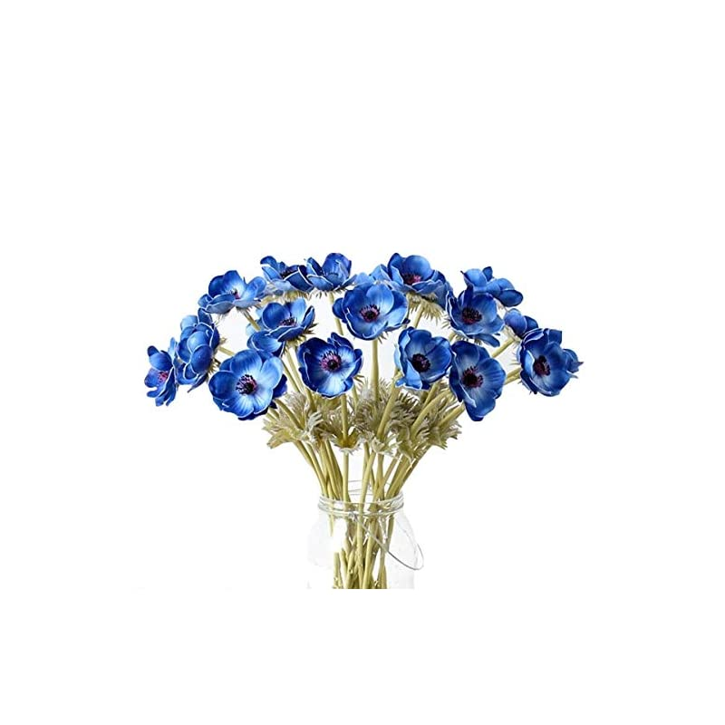 silk flower arrangements lebritamfa 5pcs artifical real touch pu anemone flower bouquet room home decor (blue)