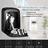 Key Lock Box, House Key Storage Lock Box with 4 Digits Combination Outdoor Key Safe Lock Box for Outside, Sturdy Wall Mounted Password Box with Mounting Kit & Waterproof Cover, Hide 5 Keys, Black