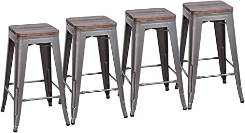 Muju 30 Industrial Counter Height Stackable Backless Metal Bar Stools with Wooden Seat Barstools Set of 4 for Kitchen or Indoor Outdoor, Gunmetal