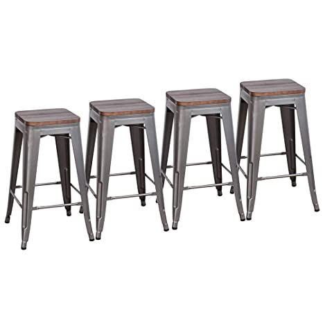 Superb Muju 24 Industrial Backless Stackable Metal Counter Stool Height Bar Stools With Wooden Seat Set Of 4 Barstools For Kitchen Gunmetal Gmtry Best Dining Table And Chair Ideas Images Gmtryco