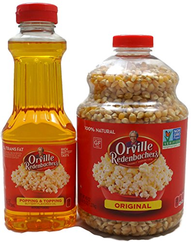 Variety Pack - Orville Redenbachers - Gourmet Popcorn Kernels (Original Yellow, 45 oz) and Popping & Topping Buttery Flavored Oil (16 oz) ()