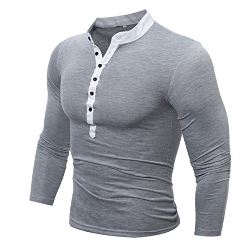 Price comparison product image Auwer Men's Long-Sleeve T-Shirt,  Men's Top Autumn Cotton T Shirt Men Solid Color T-Shirt (M,  Gray)
