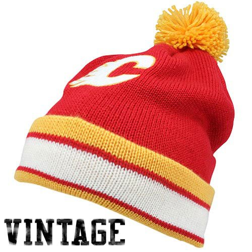 NHL Mitchell & Ness Calgary Flames Vintage Jersey Stripe Cuffed Knit Beanie - Red (Calgary Flames Jersey)