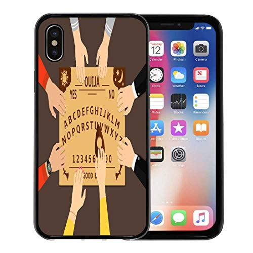 Emvency Phone Case for Apple iPhone Xs Case/iPhone X Case,Beige Ouija Board Playing Group of People Communicate Spirits Soft Rubber Border Decorative, Black]()