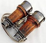 Shaheera Nautical Antique Brass Binocular~Nautical Brass Telescope~Pirate Spyglass Leather Binocular Gift D