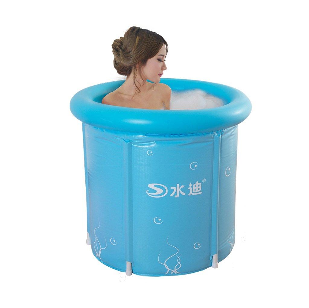 Ali@ Faltbare tragbare aufblasbare Plastikbadewanne erwachsenes Kind-Kind-Baden Eimer-dauerhafter Schmutz justierbare Höhe einfach zu Falten blau (70  70cm, 80  80cm) (Größe   70  70cm)