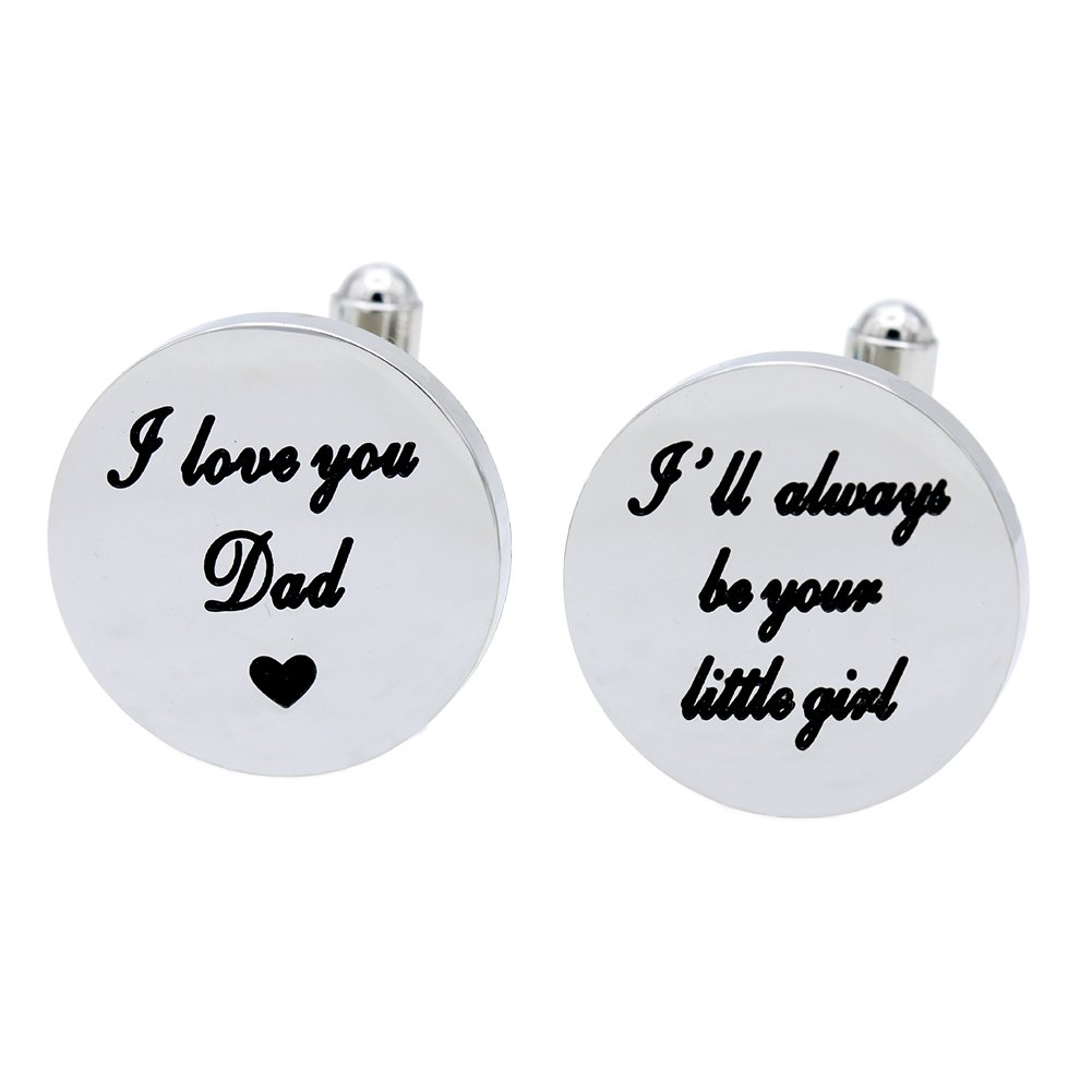 Melix Home I Love You Dad Cuf flinks, I Will Always be Your Little Girl Cufflinks, Wedding Birthday Christmas Gift for Dad From Daughter