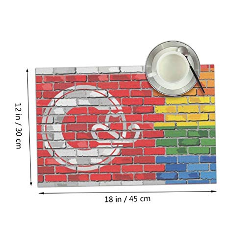 Coolfun Calgary LGBT Flag Gay Pride Art Wall Themed Print Pattern 4 Piece Set of Placemats Pc Party Kitchen Dining Room Home Table Place Mat Patio Holidays Decorations Decor Ornament]()