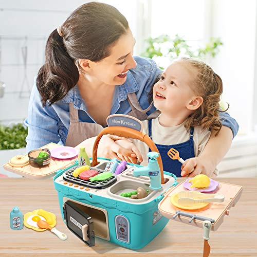 CUTE STONE Kids Picnic & Kitchen Playset,Portable Pinic Basket Toys with Musics & Lights, Color Changing Play Foods,Play…