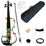 Kinglos 4/4 Green Pink Flower Colored Solid Wood Advanced Electric/Silent Violin Kit with Ebony Fittings Full Size (DSG1102)